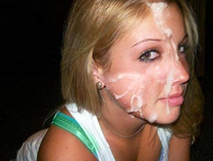 cute amateur college girl gets jizzed on her face